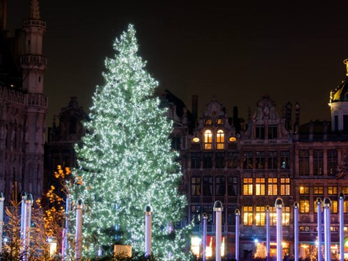 Christmas tree at La Grand-Place Brussels, Belgium