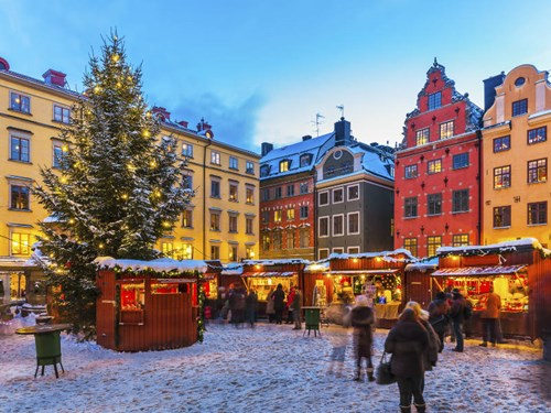 Christmas market in Old Town Stockholm, Sweden