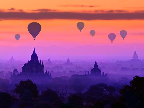 Balloons fly high above Bagan, Myanmar